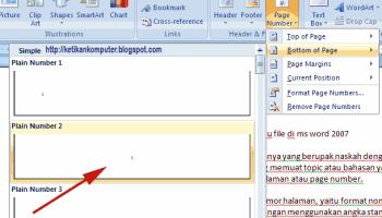 cara membuat page number berbeda di word 2007